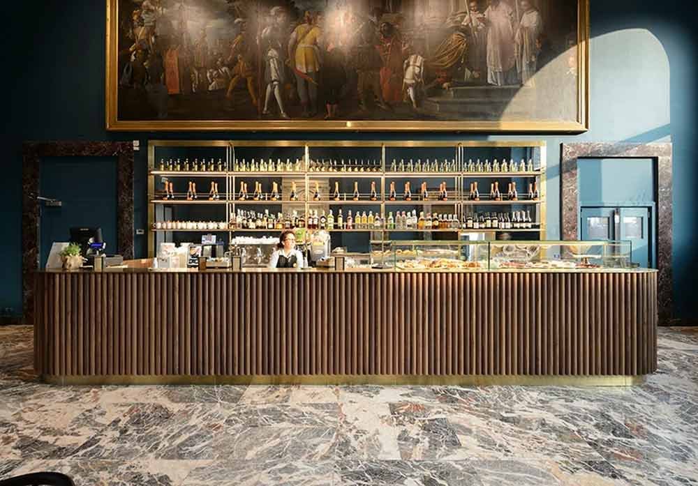 Bespoke Bar Counter with Wooden Facia and Metal Skirting for a Fine-Dine Restaurant