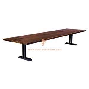 FR Conference Room Furniture Series Rectangular Conference Table with Solid Wood Top & Metal Dual T-Base