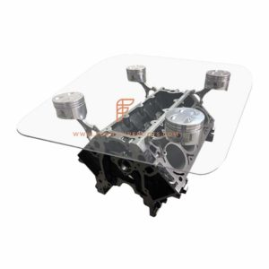 FR Automobile Tables Series Car Engine Block Coffee Table with Glass Table Top