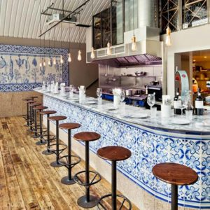 Indigo Tile Design Cafe Counter with Marble Counter Top