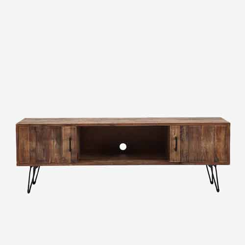 contemporay metal and marble top tv stand casegood finished in bronze