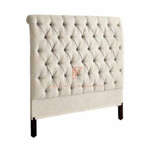FR Headboard Series Button Tufted Grey Fabric Upholstered Wooden Headboard in Espresso Finish