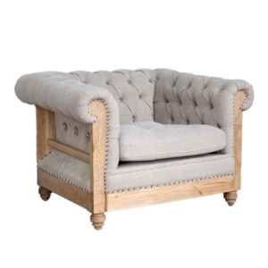 FR Accent Chair Series 1-Seater Deconstructed Chesterfield Lounge Chair in Light Grey Fabric Upholstery