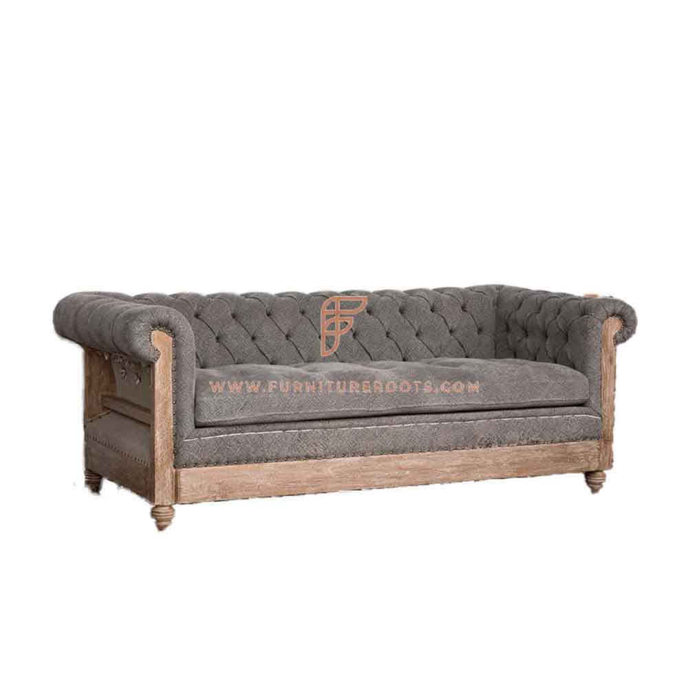 FR Sofas Series 3-Seater Deconstructed Couch in Exposed Wood Frame and Grey Fabric Upholstery