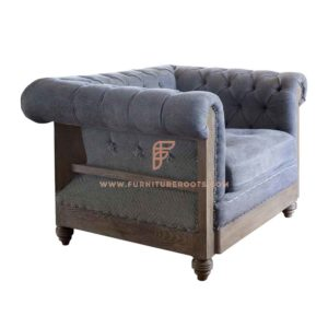 FR Accent Chair Series 1-Seater Deconstructed Chesterfield Lounge Chair in Sky Blue Fabric Upholstery