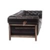 FR Sofas Series 2-Seater Deconstructed Chesterfield Couch in Solid Wood Frame and Black Leather Upholstery