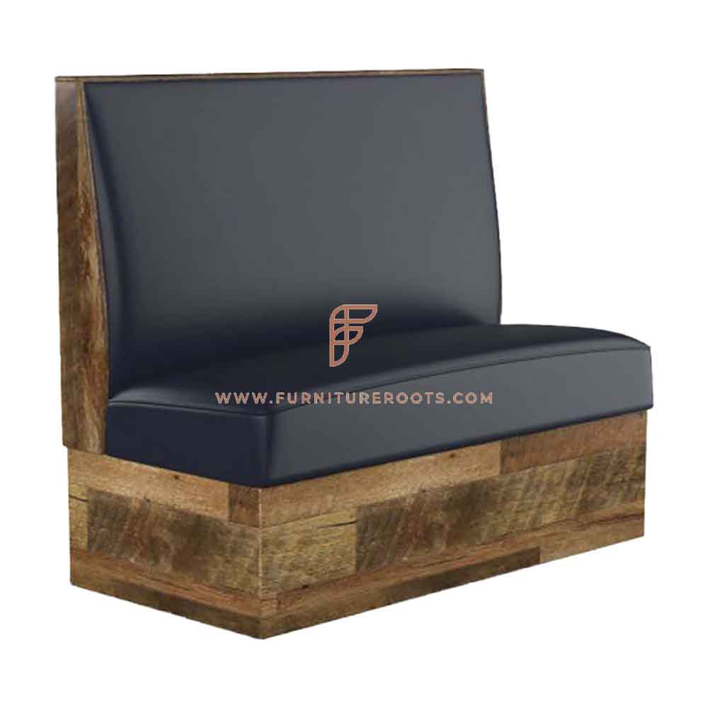 FR Restaurant Booths Series Single Back Upholstered Wall Bench in Solid Wood Frame in Rough Sawn Finish