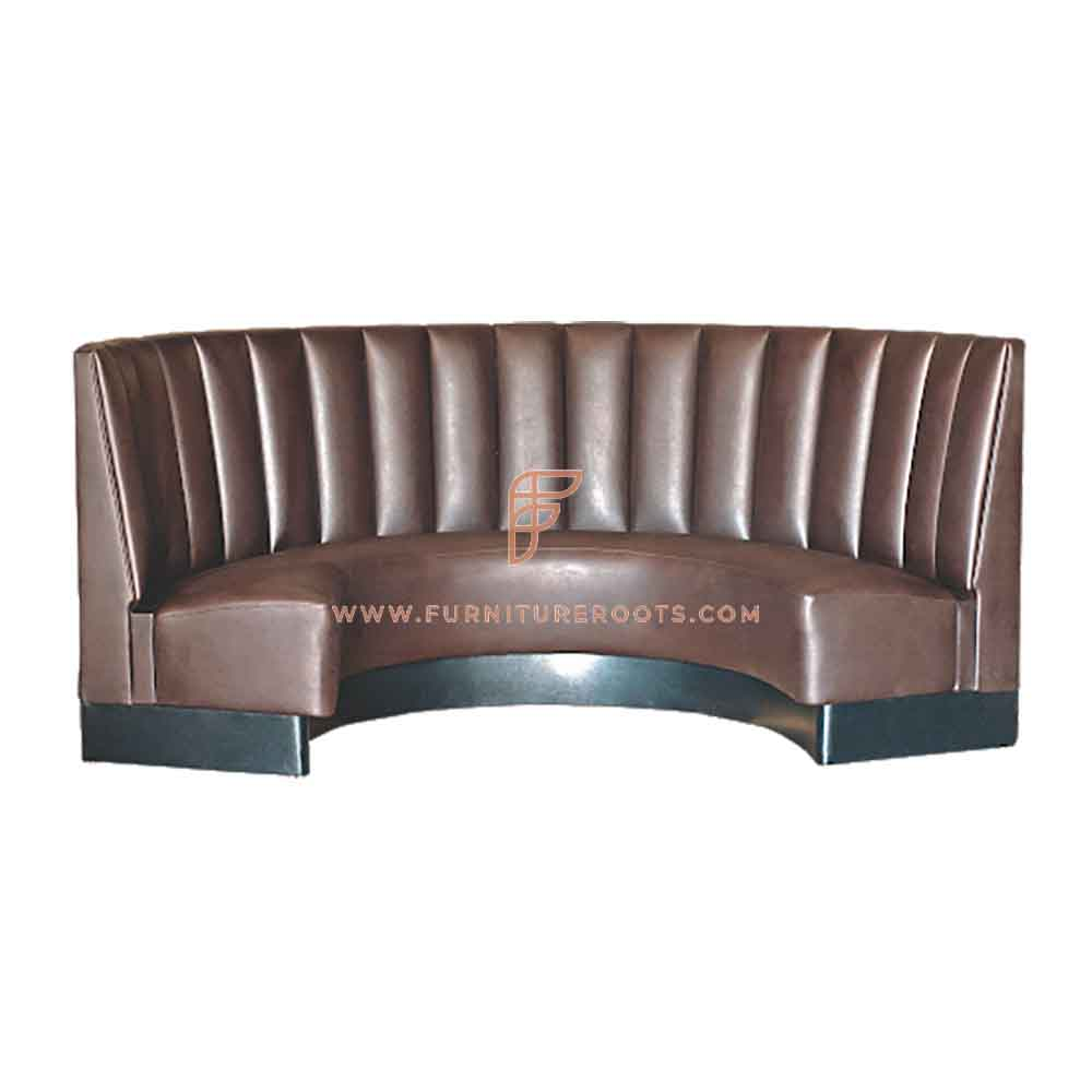 FR Restaurant Booths Series Channel Tufted Upholstered 1/2 Circle Curved Booth