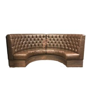 Button Tufted Brown Vinyl Upholstered 1/2 Curved Booth in Solid Wood