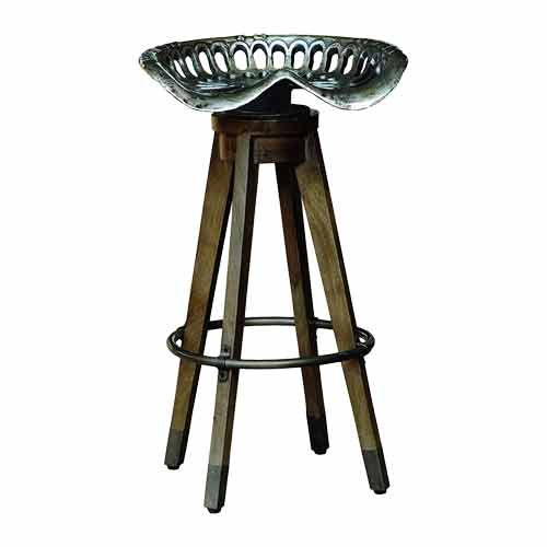 Hourglass-Shaped Low-Height Perforated Metal Stool