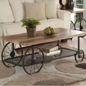 Mesas de centro temáticas industriales de casa de campo con ruedas steampunk