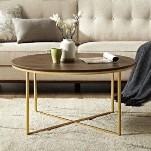 Mesas de centro de madera chapada en oro + pulida