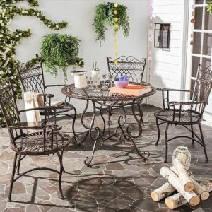 dining sets in outdoors made in carved wrought iron