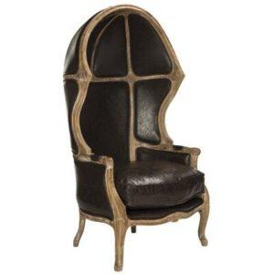 sedia a palloncino in pelle nera con schienale alto curvo