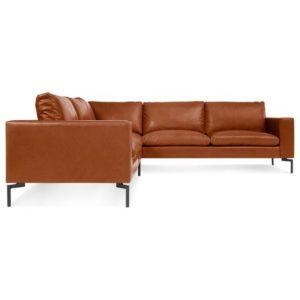 divano angolare componibile in pelle marrone