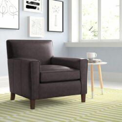 cadeira de sotaque da sala de estar com acabamento em couro split grain