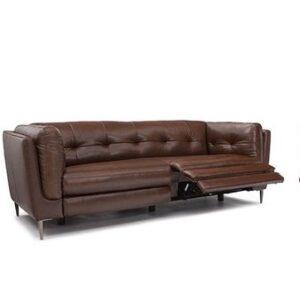 divano reclinabile in ecopelle color marrone