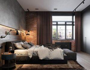 modern industrial hotel room interiors