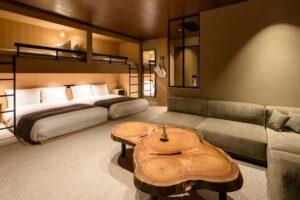 modern minimalist Japanese hotel loft room