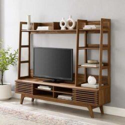 geradliniger, geometrisch geformter moderner TV-Ständer in dunklem Holz
