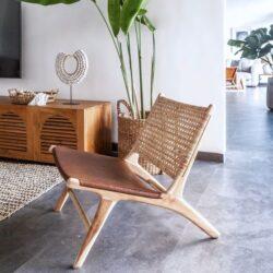 Relaxsessel in Rattan-Webart