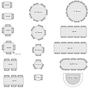 different furniture options for restaurant seating layout
