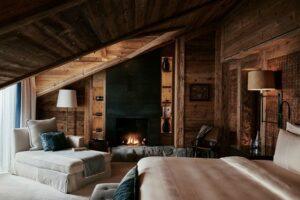 log cabin style hotel room design