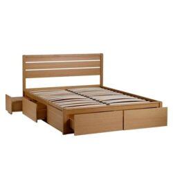 cadre de lit en bois massif avec tiroirs