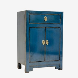 blue painted distress cabinet