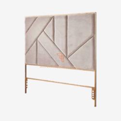modern white headboard with sharp geometric lines