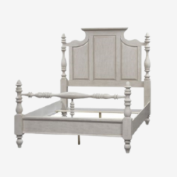 hand carved french bedframe with attached headboard