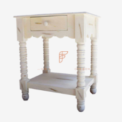 white marble carved nighstand in granite finish