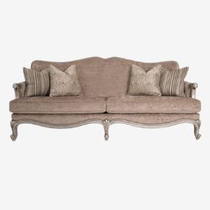 tan velvet upholstered cabriole sofas