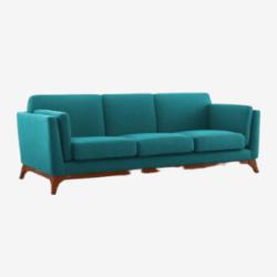 deep green mid century modern sofa