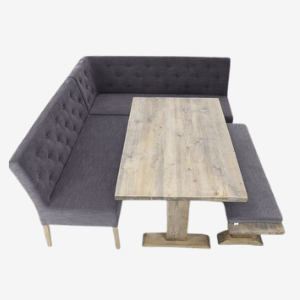 grey fabric tufted dining booth set for residential use