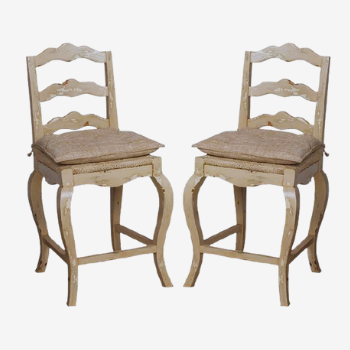 french provincial rustic wooden barstools