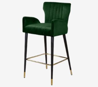 deep green modern barstool with armrest