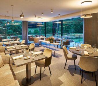 bright lighting at a modern fine dining restaurant