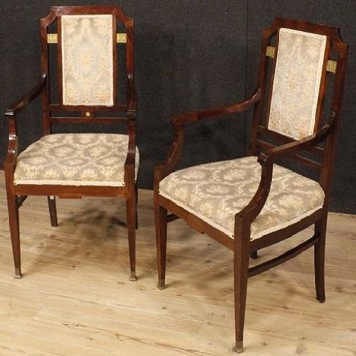 art deco chairs in dark teakwood