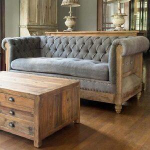 stoffgepolstertes Hotel-Lodge-Sofa im rustikalen Landhaus-Design