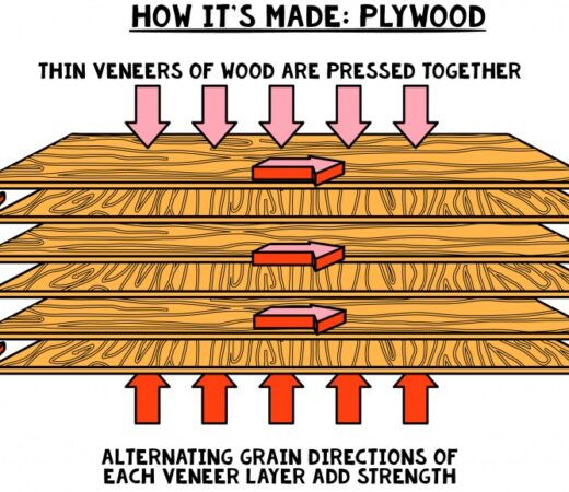 diagram showing cross lamination of wood for making plywood