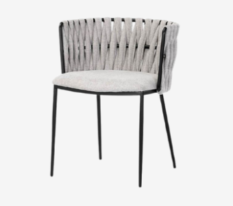 stainless steel curved back mid century outdoor chair