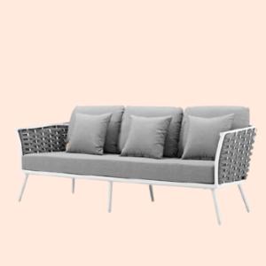 steel frame sofa with mesh woven pattern & foam cushioning