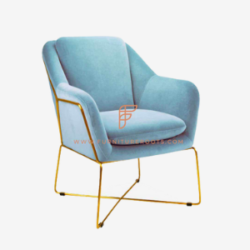 elegant and exquisite armchair in blue stitched fabric