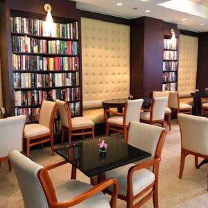 book-store themed restaurant interiors