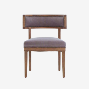 solid wood hotel room side chair with a curved back