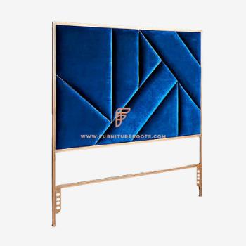 blue headboard for hotel room