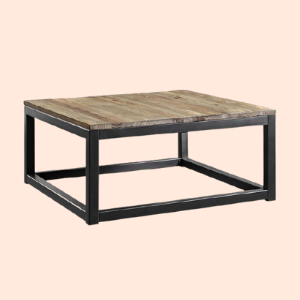 square coffee table with distressed wood tabletop (for hotel lobbies)