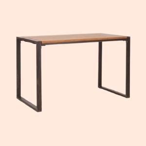 sleek, mid century dining table in stainless steel metal