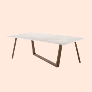 mid century modern dining table with marble tabletop
